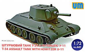 Танк T-34 с гаубицей У-11. Сборная модель советского танка в масштабе 1/72. UM 440