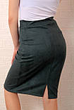 Замшевая офисная юбка темно-зелёная, фото 2