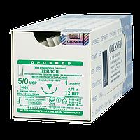 Нейлон монофіламент синій USP (EP): 5/0(1), 0,75м, Ріжуча голка 16мм 1/2, OPUSMED® (полиамид)