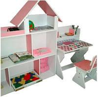 Комплект для детской комнаты парта-растишка и домик для игрушек кукольный домик