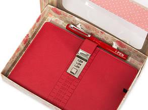 Блокнот-ежедневник с кодовым замком CAGIE Biz 96 Розовый NA-56897, фото 2