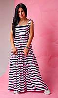Длинный летний женский сарафан / платье на бретельках с завязками с принтом размер 42-44, 46-48, 50-52