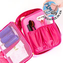 Дорожная косметичка с органайзером для кистей ORGANIZE (розовый)
