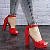 Женские красные босоножки на каблуке Danny 1748, фото 3