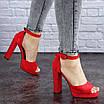 Женские красные босоножки на каблуке Danny 1748, фото 4