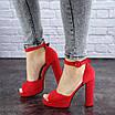 Женские красные босоножки на каблуке Danny 1748, фото 8