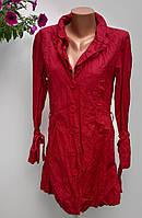 Плащ красный женский на пуговицах размер 46-48 (б-206)