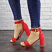 Женские красные босоножки на каблуке Moby 1559, фото 7