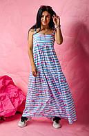 Длинный летний женский сарафан / платье на бретельках с завязками с принтом размер 42-44, 46-48, 50-52 Бело-голубой фламинго