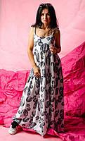 Длинный летний женский сарафан / платье на бретельках с завязками с принтом размер 42-44, 46-48, 50-52 Черный+белый цветы