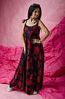Длинный летний женский сарафан / платье на бретельках с завязками с принтом размер 42-44, 46-48, 50-52 Черный+красный цветы