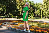 Платье поло зеленое летнее на девочку-подростка рост 134-176
