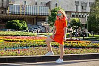 Платье поло оранжевое летнее на девочку-подростка рост 134-176