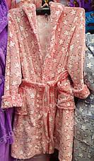 Халат махровий жіночий середньої довжини з капюшоном р. S,M,L, фото 3