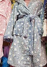 Халат махровый женский средней длины с капюшоном р.S,M,L, фото 2