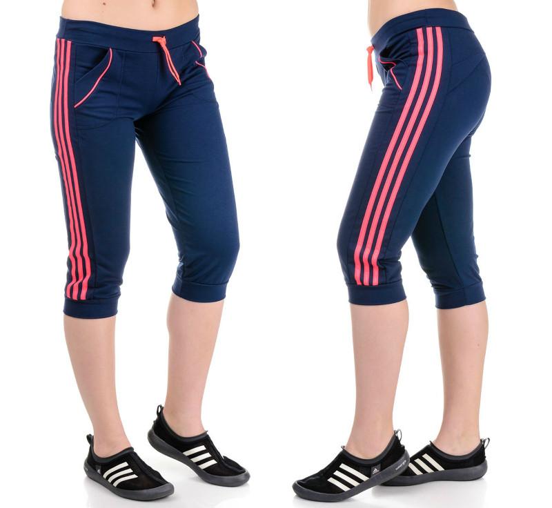 Бриджи женские спортивные (темно-синие+розовый)