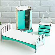 Мебель для кукольного домика Барби NestWood Спальня мятная (kmb005m), фото 5