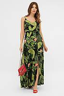 Красивый длинный сарафан женский летний в пол с принтом тропический лист
