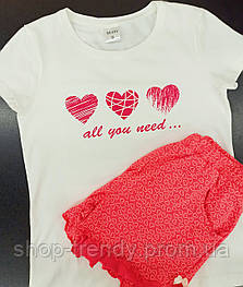 Женская пижама (футболка и шорты) из хлопка