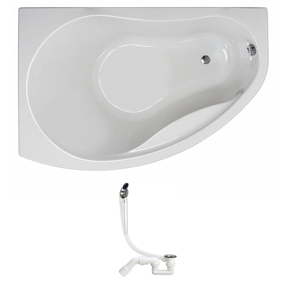 PROMISE ванна 150*100см асимметричная, левая, белая, с ножками SN7 + Viega Simplex сифон для ванны
