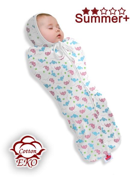 """Пеленка-кокон на молнии для новорожденного """"Дино"""" - Ontario Baby (DS1/Summer+)"""