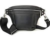 Кожаная сумка нагрудная/поясная сумка мужская/женская ручной работы  Tsar.store в черном цвете