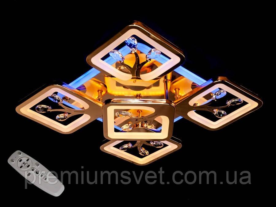 Стельова люстра з димером і LED підсвічуванням, колір золото, 110W S8157/4+1 G LED 3color dimmer