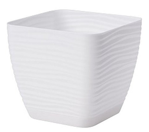Горшок цветочный квадратный Сахара Петит 15 см Белый