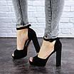 Женские черные босоножки на каблуке Danny 1752, фото 3
