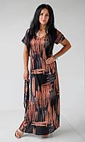 Шелковое летнее прямое платье с абстрактным принтом и поясом в комплекте размер 42-44, 46-48, 50-52 Черный