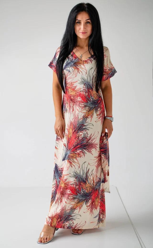 Шелковое летнее прямое платье с абстрактным принтом и поясом в комплекте размер 42-44, 46-48, 50-52 Молочный