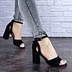 Женские черные босоножки на каблуке Kingsly 1718, фото 3