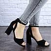 Женские черные босоножки на каблуке Kingsly 1718, фото 4