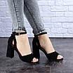 Женские черные босоножки на каблуке Kingsly 1718, фото 7