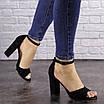 Женские черные босоножки на каблуке Riley 1541, фото 3