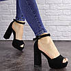 Женские черные босоножки на каблуке Rooty 1625, фото 2