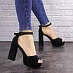 Женские черные босоножки на каблуке Rooty 1625, фото 4
