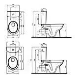 NOVA PRO Rimfree унитаз-компакт: напольный унитаз, г/в, Rimfree, бачок округлой формы, нижн/п, 6/3 л, с микролифтом, фото 2