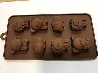 Форма силиконовая для конфет Зверята