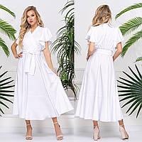 """Белое платье длины миди летнее """"Селин"""""""