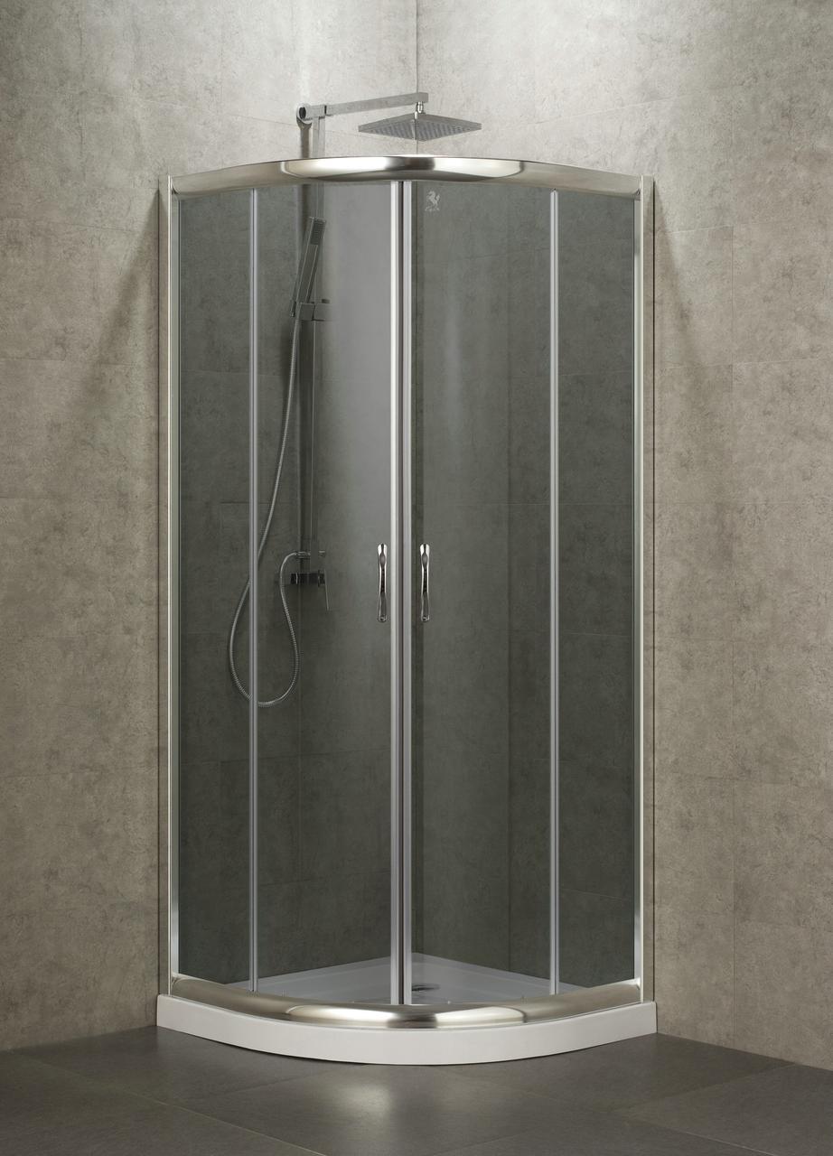 BALATON душова кабіна 90*90*185 см, профіль хром,скло тоноване 6мм (скла+двері)