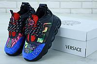 Женские модные кроссовки Versace Blue Black (Версаче в черно-синем цвете)