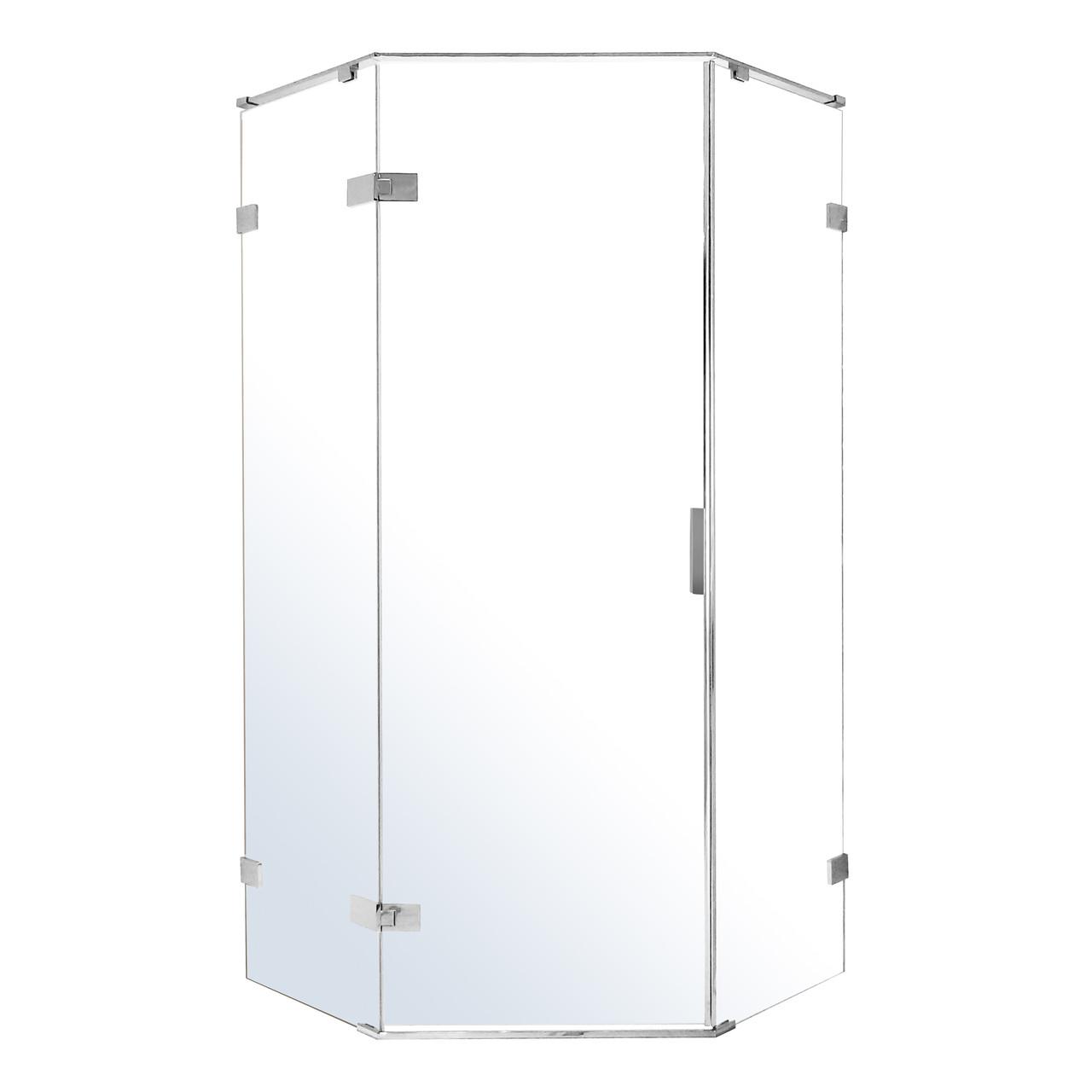 NEMO душевая кабина 5-ти угольная 90*90*195см, левая, распашная, прозрачное стекло 8мм, зеркальный хром