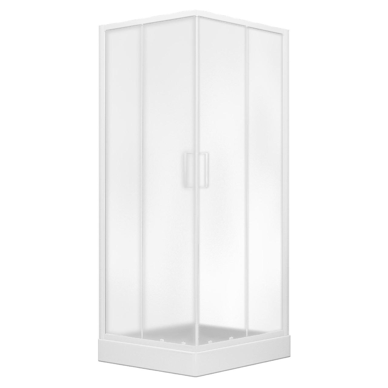 """VI`Z душевая кабина 80~90*185см квадратная (стёкла + двери), регулируемый белый профиль, стекло """"Zuzmara"""""""
