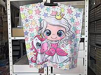 Детское яркое полотенце пончо Принцесса Цвет белый велюр-махра 3D принт 100% Хлопок
