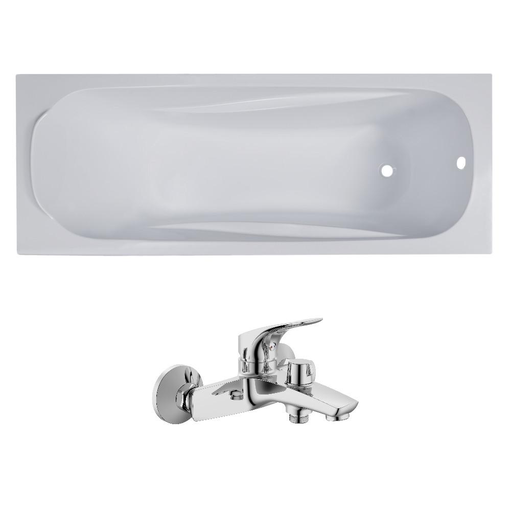 Комплект: FIESTA ванна 150*70*43,5см без ножек + ORLANDO смеситель для ванны, хром, 35мм