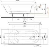 OPAL PLUS ванна 150*70см прямокутна, без ніжок, фото 2