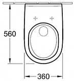 O.NOVO (комплект ) унитаз подвесной 36*56см 56601001 +сидение на унитаз с функцией soft closing 9М38S101, фото 2