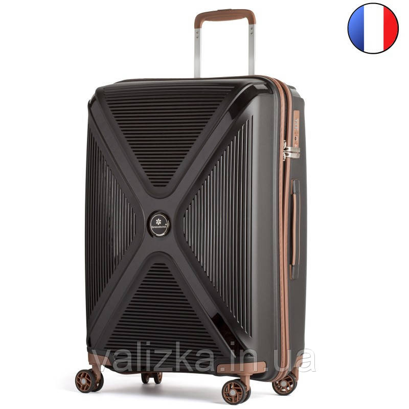 Большой пластиковый чемодан из полипропилена черный Snowball 84803 Франция