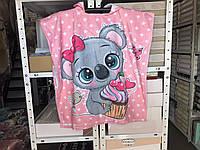 Красивое детское яркое полотенце пончо Мышка 60*120 Цвет розовый велюр-махра 3D принт 100% Хлопок